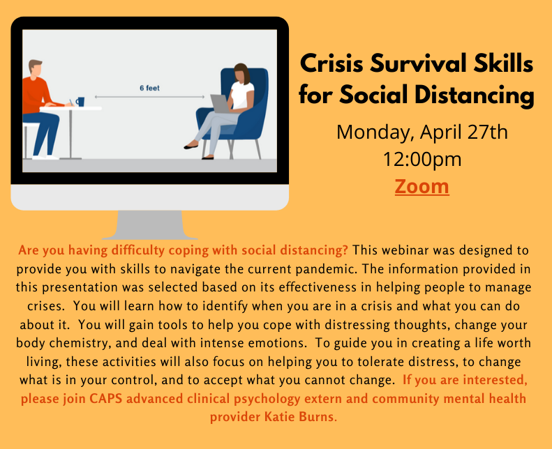 Flyer for Crisis Survival Skills for Social Distancing Webinar