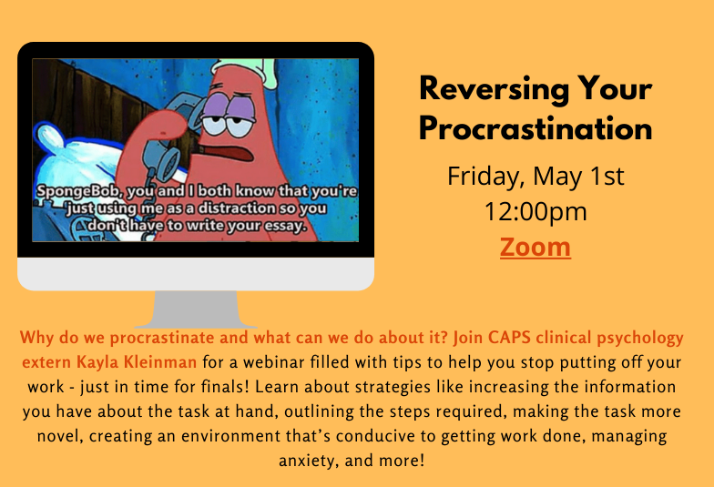 Flyer for Reversing Your Procrastination Webinar