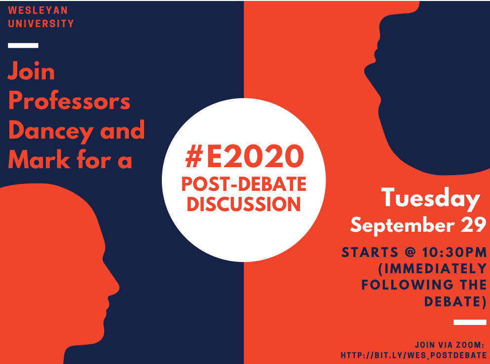 Flyer for Post Presidential Debate Discussion on 9/29