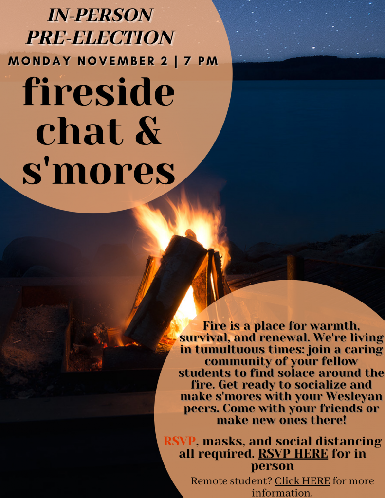 Fireside Chat and Smores on Election Day Flyer
