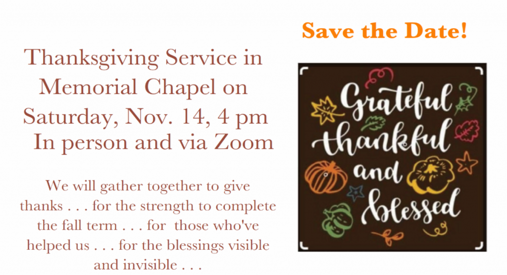 Thanksgiving Service at Memorial Chapel Graphic