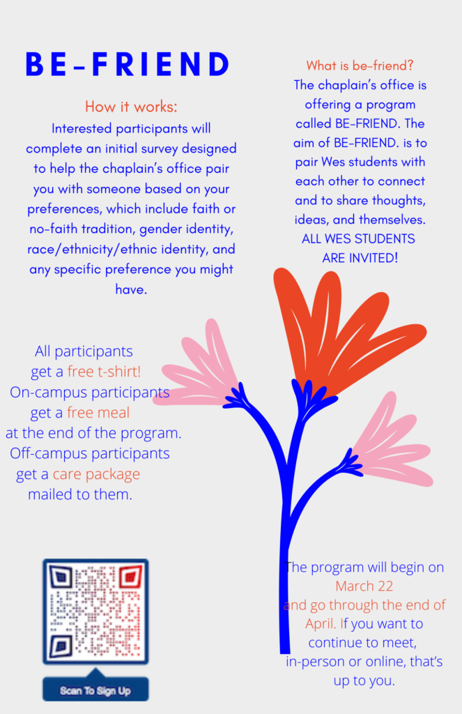 Announcement for Be-Friend Initiative with flowers